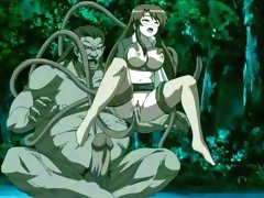 Hentai monster with tentacles diddling babe