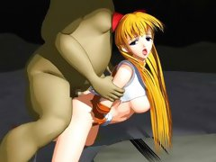 Sexy 3D animated blonde getting down with a weird lustful monster