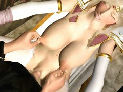 Blonde 3D anime princess blowing and gets shaved pussy fucked