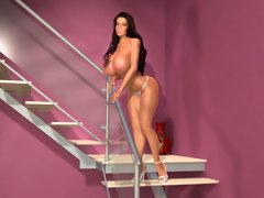 Perfect 3D babe shows large boobs on the stairs